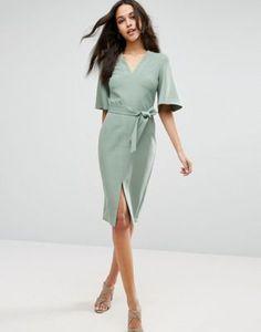 Однотонное платье с запахом и V-образным вырезом ASOS