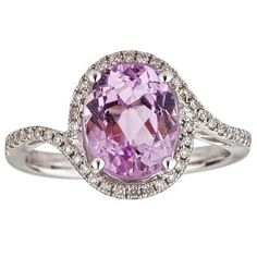 Slip this feminine ring on your finger and accessorize with the light purple of the center oval-cut kunzite stone. A slightly curved band features 46 round-cut diamonds to add texture and sparkle to t