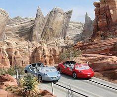 radiator springs racers ride in disneyland's california adventure, cars land
