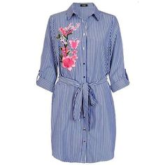 Dorothy Perkins *Quiz Navy Stripe Embroidered Shirt Dress ($49) ❤ liked on Polyvore featuring dresses, blue embroidered dress, shirt dress, navy dress, navy striped dress and t-shirt dresses