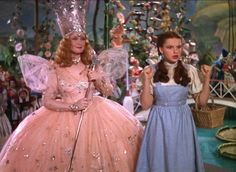 Billie Burke as Glinda the good witch and Judy Garland as Dorothy Gale in the Wizard of OZ