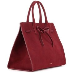 Mansur Gavriel Large Sun Suede Tote (£885) ❤ liked on Polyvore featuring bags, handbags, tote bags, purses, bolsos, purse tote, red handbags, tote purses, suede purse and suede tote
