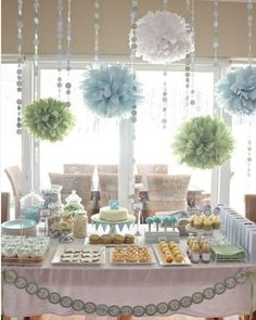 Mint and baby blue dessert table - so beautiful #wedding #desserttable #desserts #sweets #mint