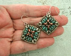 Linda's Crafty Inspirations: Maya Earrings - Turqouise, Copper & Pewter