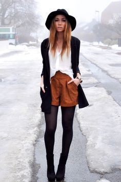 hat, shorts, tights, sweater, shirt, white, black, camel, /            \\\\\\fashion