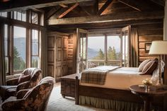 Miller-Roodell Architects designed this rustic mountain home that offers panoramic views of the Gallatin Mountains, in Big Sky, Montana. Log Bedroom Sets, Log Cabin Bedrooms, Lodge Bedroom, Log Cabin Living, Log Cabin Homes, Rustic Bedrooms, Log Cabins, Bedroom Retreat, Mountain Living