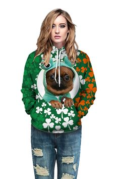Cool hoodies with St. Patrick's Day green Clover Lucky Grass hoodie – menlivestyle Printed Hoodies, Clover Green, Cool Hoodies, Hooded Sweater, Christmas Sweaters, Grass, Fabric, Fashion, Zip Hoodie