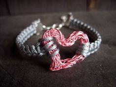 heart bracelet valentines day for her grey gray pink love wire heart macrame bracelet freindship bracelet braided jewelry shamballa bracelet. $20.00, via Etsy.