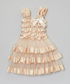 Another great find on #zulily! Tan Tiered Ruffle Dress - Toddler & Girls by Royal Gem #zulilyfinds