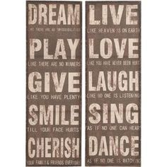 """Crafted of wood with an inspirational text motif, this whimsical wall decor set makes a charming addition to your living room or bedroom.   Product: 2-Piece wall decor setConstruction Material: Wood Dimensions: 47"""" H x 32"""" W (overall)Note: Price is both pieces of wall decorCleaning and Care: Wipe with a dry cloth"""