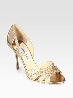 A shoe with my name on it!  Jimmy Choo  Gerda Glitter-Coated Metallic Leather d'Orsay Pumps