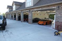 Garage(n): a building where a car is kept, which is built next to or as part of a house. Garage(v). Dream Car Garage, Garage House, Diy Garage, Garage Doors, 5 Car Garage, Garage Exterior, Garage Shelf, Garage Plans, Garage Storage Solutions