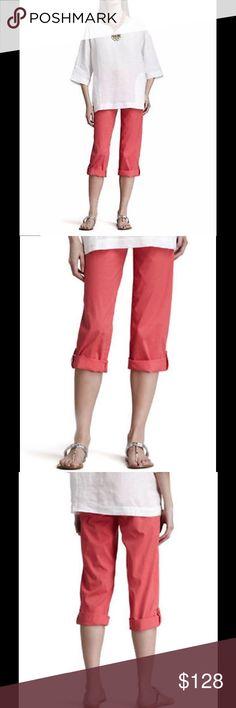 NWT Eileen Fisher Cuffed Twill Capri Pants Eileen Fisher strawberry Pink Cuffed Twill Capri $178 Pants PM Eileen Fisher Pants Capris