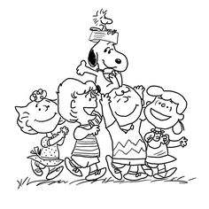 Charlie Brown and merry gang coloring pages for kids, printable free - Cartoons