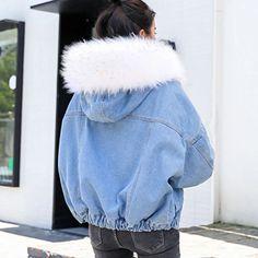 With Fur Trim Hood Cotton Liner Long Denim Jackets Women Winter Hardy – Celiati