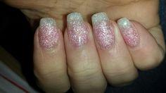 Witte glitter doorlopende roze glitter acryl