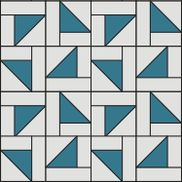"Sew a Half Square Falling Triangles Quilt.  Makes an approximately 90"" x 108"" quilt. Supplies needed: • 1 Layer Cake (solid)   • 1 Layer Cake (print)   • 2 Jelly Rolls (matching solid)"