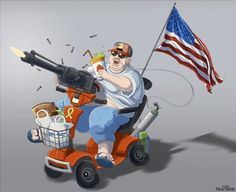 From obese and patriotic, to lazy and gun crazed, this cartoon shows most  American stereotypes.    http://hellobeautiful.com/1644735/8-stereotypes-of-americans-that-arent-always-true-and-two-that-might-be/