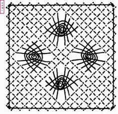 Lecarré n° 5 est composé d'araignées sur un fond torchon         Si vous réalisez un ouvrage avec les cartons proposés par Dominique, ...