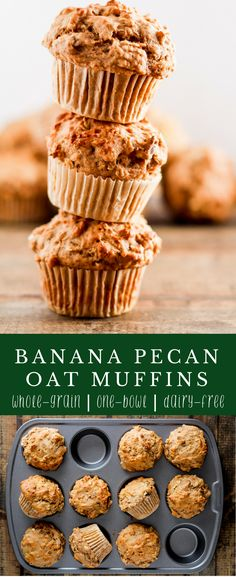 Looking for a healthy, breakfast recipe to eat on the go? These Banana Pecan Oat Muffins are easy to make, perfect for meal prep, and packed with fiber from whole grains and fruit. | Delicious recipe from @gratefulgrazer | #muffins #wholegrain #wholewheat #mealprep #breakfast #dairyfree #vegetarian via @gratefulgrazer