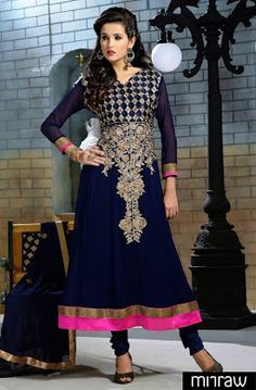 Blue party wear salwar kameez