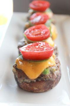 Cheeseburger Stuffed Mushrooms Shared on https://www.facebook.com/LowCarbZen | #LowCarb #Snacks #Appetizers #Mushrooms