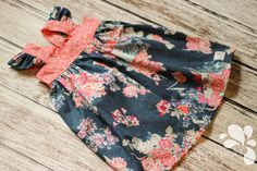 Floral Fall Flutter Sleeve Molly Dress Ruffle Knot Bow Twirl Dress Made to Order Custom Handcrafted Made in the USA by LollipopsPaisley on Etsy