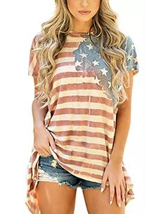 fa0541f87bd5 Women s American Flag Shirt Short Sleeve Loose Blouse 4th of