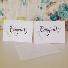 Some pretty congrats cards ☺️ I can't decide which 'c' I prefer? ✒️ #photooftheday #calligraphy #moderncalligraphy #cards #customprint #etsy #ink #typography #lettered #handwriting #handmadefont #art #VSCOcam #congratulations #handmade