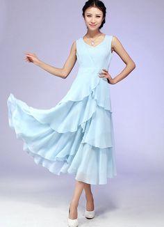 Blue chiffon maxi wedding dress