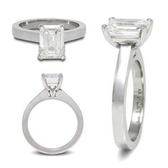 Emerald Cut Solitaire Engagement Ring Love the sharp, clean lines on this custom platinum engagement ring - the carat, GIA certified, emerald cut diamond doesn't hurt either! Platinum Engagement Rings, Solitaire Engagement, Custom Jewelry Design, Custom Design, Emerald Cut Diamonds, 2 Carat, Clean Lines, Jewels, Jewerly