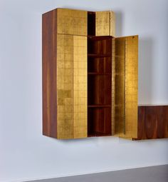 "Phillip Lloyd Powell Wall-Mounted Gold Leaf 60"" Cabinet, 1963 