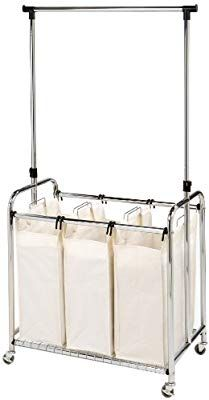 Seville Classics Mobile 3 Bag Heavy Duty Laundry Hamper Sorter