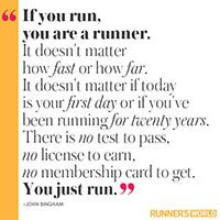 This is why I love running unlike the sports i played growing up. No competition, no one telling you that you are doing it wrong, no one judging your every step. Just you, a beating heart, and a sweaty face.