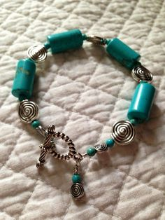 Turquoise And Silver Spiral Bracelet on Etsy, $9.99