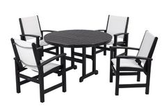 The POLYWOOD® Coastal White Sling Dining Set - Seats 4 features quick-drying sling seating and durable recycled POLYWOOD®. Outdoor Dining Set, Patio Dining, Round Dining Table, Dining Chairs, Outdoor Living, 5 Piece Dining Set, Patio Furniture Sets, Coaster Furniture, Living Spaces
