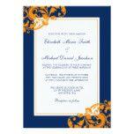 Navy Blue and Orange Flourish Swirls Wedding 5x7 Paper Invitation Card