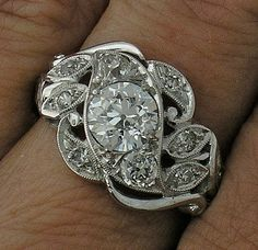 Edwardian Diamond Engagement Ring in 14kt White Gold, .88cts Center G Color VS2 Clarity. $3650,00, via Etsy.