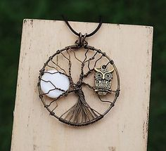 Tree of Life Pendant Wire Wrap Owl and Moon Necklace White Shell Art Jewelry