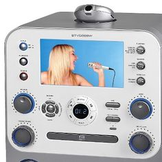 Singing Machine Bluetooth Digital Audio Streaming Karaoke System with Recording and Microphone -, White Gray