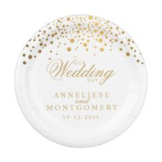 Our Wedding Day White & Gold Confetti Dots Paper Plate - confetti wedding wedding day party