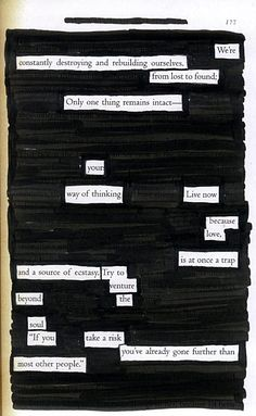 Live Now - Blackout Poem by Kevin Harrell (see more at www.blackoutpoetry.net)
