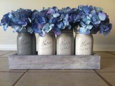 Rustic Mason Jar and wood box table Centerpiece wedding shabby chic distressed vase SHADES OF GREY
