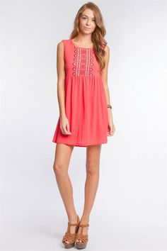 Tomato Red Smock Sundress with Back Cut Out