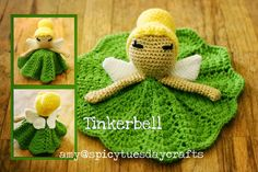 Crochet Projects Ideas Tinkerbell Princess Lovey FREE Crochet Pattern - You will love these Disney Princess Crochet Blanket Patterns and we have all your favorite characters. Check them all out now and Pin your favorites. Crochet Security Blanket, Crochet Lovey, Crochet Amigurumi, Lovey Blanket, Crochet Blanket Patterns, Crochet Gifts, Cute Crochet, Baby Blanket Crochet, Crochet Dolls