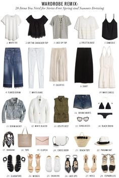 A summer wardrobe checklist of 28 must-have classic and trendy pieces for easy, stress-free, chic dressing.