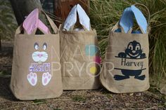 1x Personalised Burlap Easter Basket with Bunny Ears/Hessian tote by MadePryor on Etsy