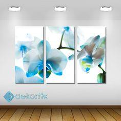 Floral Mavi Orkide Tablo #parçalı_kanvas_tablolar