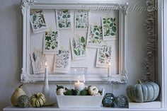 "Fall doesn't have to be orange and brown ::  <span style=""text-decoration: underline;""><strong><a href=""http://www.songbirdblog.com/2012/09/fall-mantel-decoration/"">White and Green Nautical Fall Mantel</a></strong></span>"