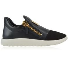 Giuseppe Zanotti Camoscia Low Top Trainers (€370) ❤ liked on Polyvore featuring shoes, sneakers, nero, leather trainers, giuseppe zanotti shoes, chunky sneakers, low top and genuine leather shoes